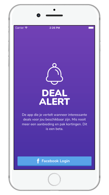 Deal Alert app Login Screenshot
